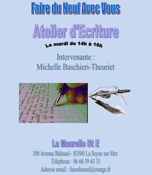 Atelier d'Ecriture de l'association Faire du Neuf avec Vous à La Seyne-sur-Mer - 1
