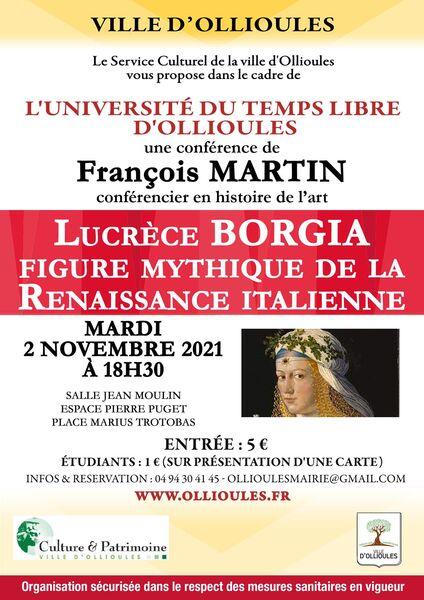 Conférence de l'Université du Temps Libre «Lucrèce Borgia, figure mythique de la renaissance italienne» à Ollioules - 0