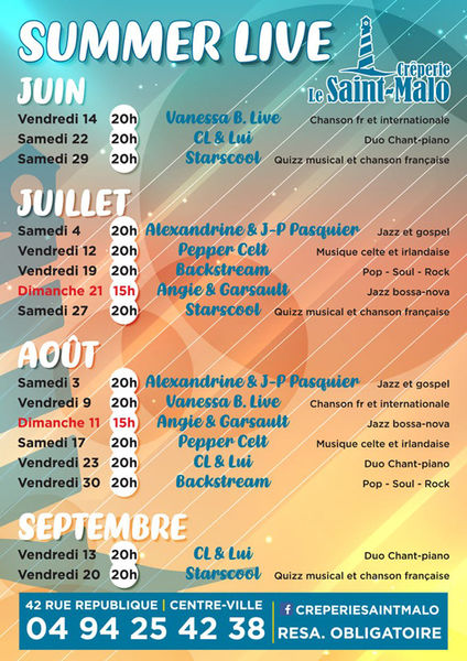 Summer Live : animation musicale avec Alexandrine & J.P Pasquier à Six-Fours-les-Plages - 0