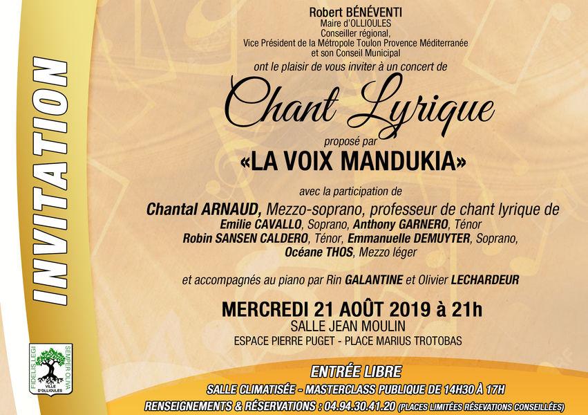 Concert de chant lyrique proposé par la Voix Mandukia à Ollioules - 0