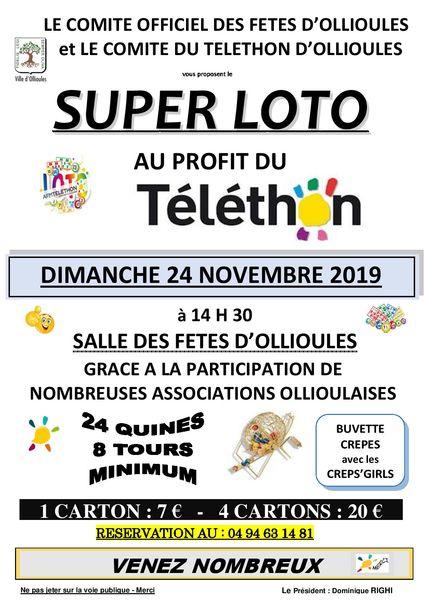 Grand loto du Telethon organisé par le Comité Officiel des Fêtes d'Ollioules à Ollioules - 0