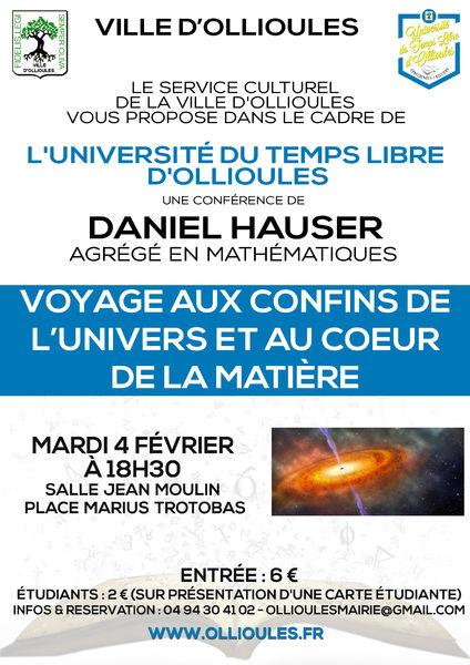 Conférence de l'Université du Temps Libre «Voyage aux confins de l'univers et au cœur de la matière» à Ollioules - 0