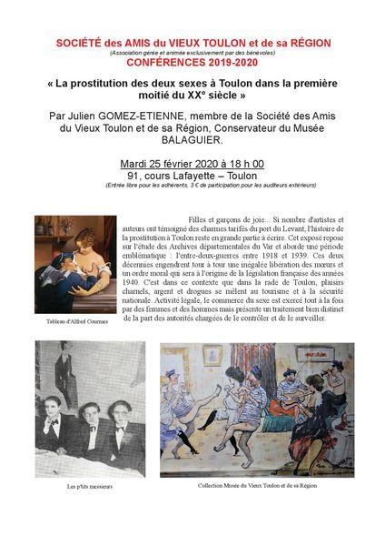 Conférence – La prostitution des deux sexes à Toulon dans la première moitié du XX° s. à Toulon - 0