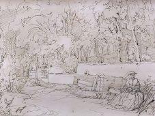 Pierre LETUAIRE, Au jardin du Roi, Plume à l'encre brune sur papier- coll. : Musée d'histoire de Toulon et de sa région, Toulon