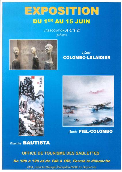 Exposition de Francine Bautista et Annie Piel (peinture) et Claire Lelaidier-Colombo (sculpture) à La Seyne-sur-Mer - 0